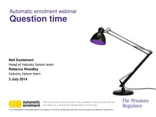 Automatic enrolment webinar   Question time