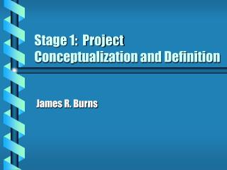 Stage 1:  Project Conceptualization and Definition