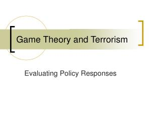 Game Theory and Terrorism