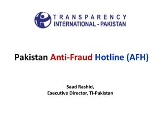 Pakistan  Anti-Fraud Hotline (AFH)