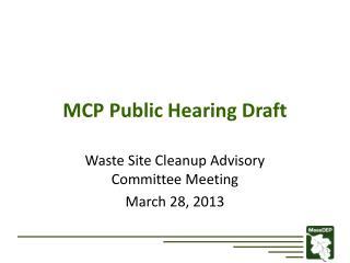 MCP Public Hearing Draft