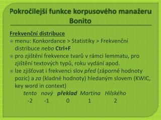 Pokročilejší funkce korpusového manažeru Bonito