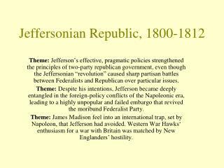 Jeffersonian Republic, 1800-1812