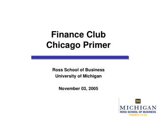 Finance Club Chicago Primer