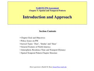 NARSTO PM Assessment Chapter 5: Spatial and Temporal Pattern Introduction and Approach
