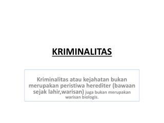 KRIMINALITAS