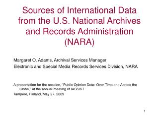 Sources of International Data from the U.S. National Archives and Records Administration (NARA)