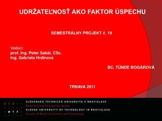 UDRŽATEĽNOSŤ AKO FAKTOR ÚSPECHU SEMESTRÁLNY PROJEKT č.  19 Vedúci : prof. Ing. Peter  Sakál , CSc.