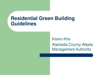 Residential Green Building Guidelines