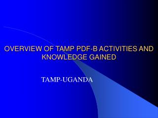 OVERVIEW OF TAMP PDF-B ACTIVITIES AND KNOWLEDGE GAINED