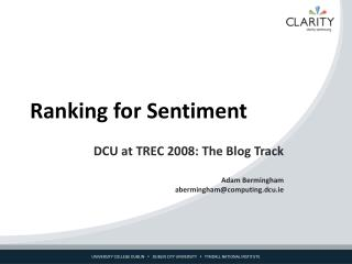 Ranking for Sentiment