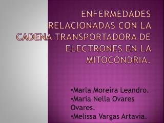 Enfermedades relacionadas con la cadena transportadora de electrones en la mitocondria.