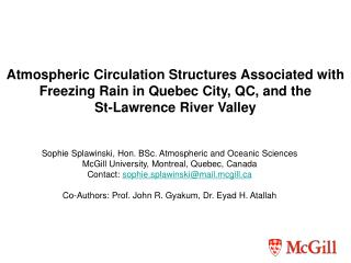 Atmospheric Circulation Structures Associated with Freezing Rain in Quebec City, QC, and the