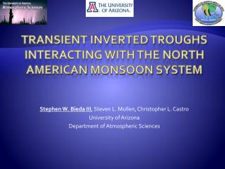 Transient inverted troughs interacting with the north  american  monsoon system