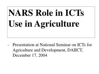 NARS Role in ICTs  Use in Agriculture