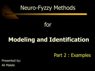 Neuro-Fyzzy  Methods for  Modeling and Identification Part 2 : Examples