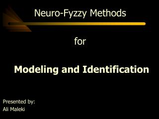Neuro-Fyzzy  Methods for  Modeling and Identification