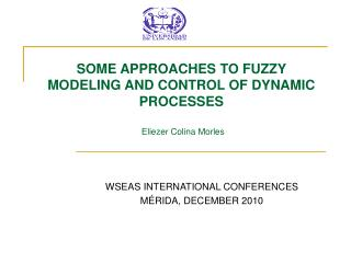SOME APPROACHES TO FUZZY MODELING AND CONTROL OF DYNAMIC PROCESSES Eliezer Colina Morles