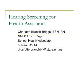 Hearing Screening for  Health Assistants