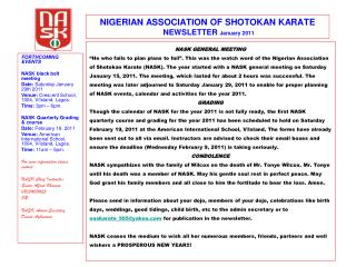 NIGERIAN ASSOCIATION OF SHOTOKAN KARATE  NEWSLETTER  January 2011
