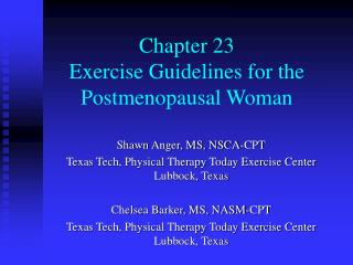 Chapter 23 Exercise Guidelines for the Postmenopausal Woman