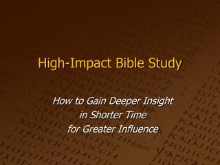 High-Impact Bible Study