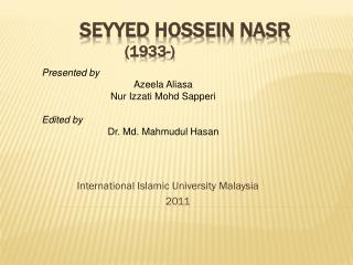 Seyyed Hossein  Nasr (1933-)