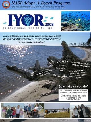 NASP Adopt-A-Beach Program and the International Coral Reef Initiative bring  you