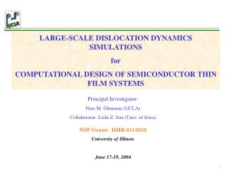 LARGE-SCALE DISLOCATION DYNAMICS SIMULATIONS for