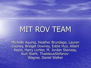 MIT ROV TEAM