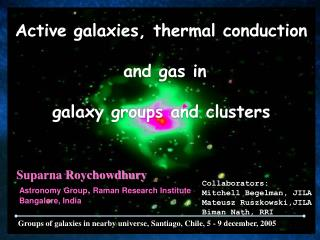 Active galaxies, thermal conduction  and gas in galaxy groups and clusters