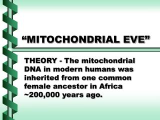 """MITOCHONDRIAL EVE"""