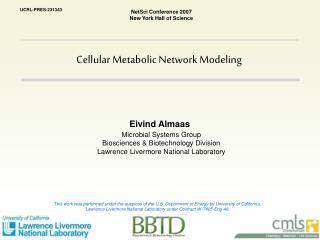 Cellular Metabolic Network Modeling