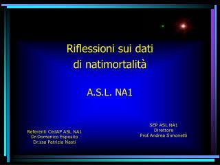 Riflessioni sui dati  di natimortalità A.S.L. NA1