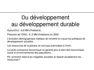 D u développement  au développement durable