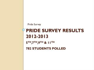 Pride Survey Results 2012-2013 5 th ,7 th ,9 th  & 11 th 782 Students polled