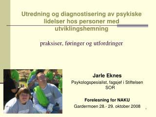 Jarle Eknes Psykologspesialist, fagsjef i Stiftelsen SOR Forelesning for NAKU