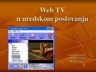 Web TV  u uredskom poslovanju