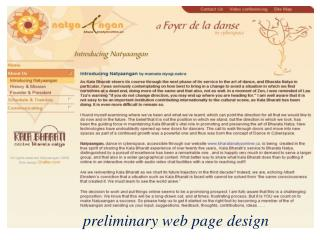 preliminary web page design