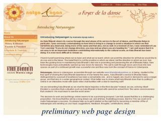 preliminary web page design