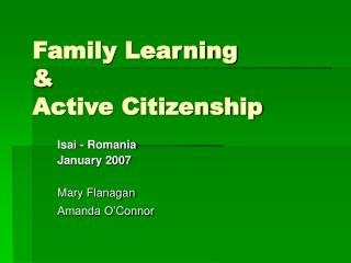 Family Learning  &  Active Citizenship