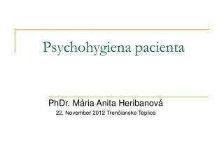 Psychohygiena pacienta
