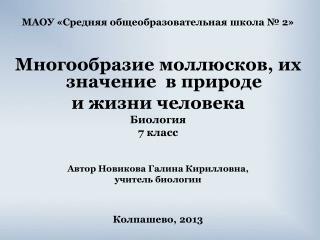 МАОУ «Средняя общеобразовательная школа № 2» Многообразие моллюсков, их значение  в природе