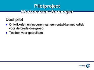 Pilotproject Werken naar Vermogen