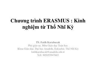 Chương trình  ERASMUS :  Kinh nghiệm từ Thổ Nhĩ Kỳ