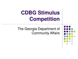 CDBG Stimulus Competition