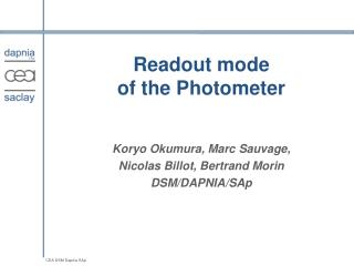 Readout mode of the Photometer