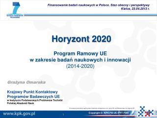 Horyzont 2020 Program  Ramowy UE  w zakresie badań naukowych i innowacji ( 2014-2020 )