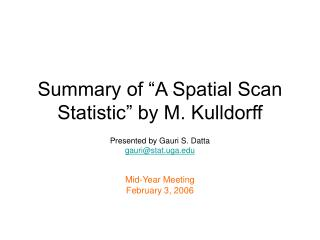"""Summary of """"A Spatial Scan Statistic"""" by M. Kulldorff"""