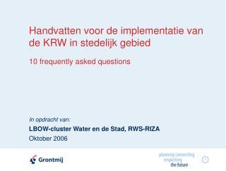 Handvatten voor de implementatie van de KRW in stedelijk gebied